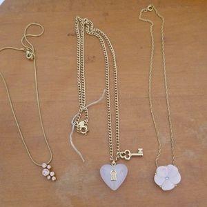 3 avon necklaces gold pink